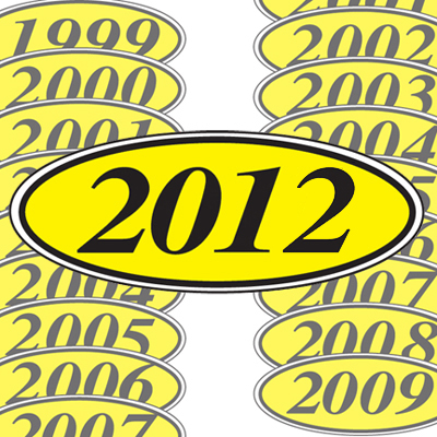 Black and Yellow Oval Year Model Sticker
