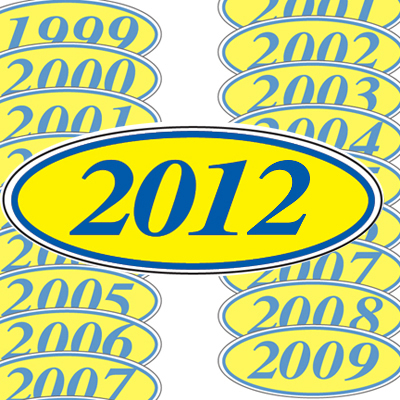 Blue and Yellow Oval Year Model Sticker