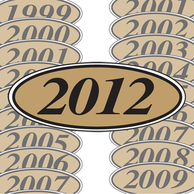 Gold and Black Oval Year Model Sticker