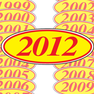 Red and Yellow Oval Year Model Sticker