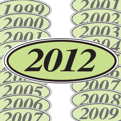 Chartreuse and Black Oval Year Model Sticker