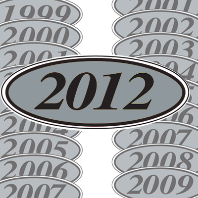 Silver and Black Oval Year Model Sticker