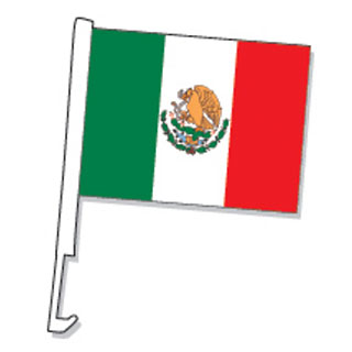 Spanish Mexico Clip On Car Flag