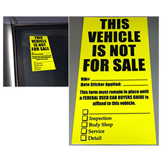 Vehicle not for sale decals