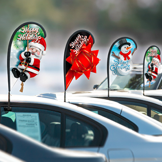 Holiday 3D clip-on flags