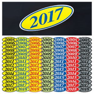 Oval Year Stickers