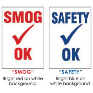 Smog Check-Safety Check Decals